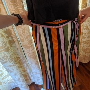 High waist, striped, wide leg pants